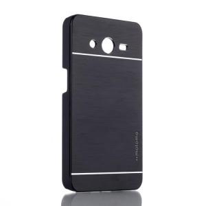 Пластиковый чехол текстура Металл для Samsung Galaxy Core 2 Черный