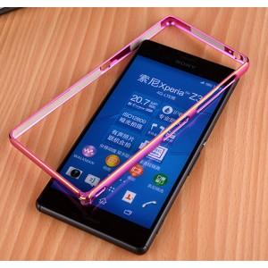 Металлический двухцветный бампер с золотой окантовкой для Sony Xperia Z3 Dual SIM Пурпурный