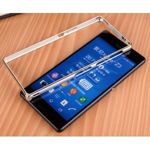 Металлический двухцветный бампер с золотой окантовкой для Sony Xperia Z3 Dual SIM Белый