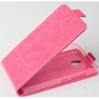 Чехол вертикальная книжка на силиконовой основе с магнитной застежкой для Nokia X2 Розовый