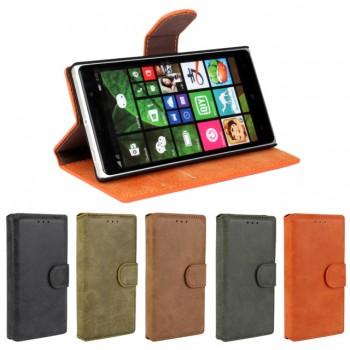 Чехол портмоне подставка винтажный с защелкой для Nokia Lumia 830