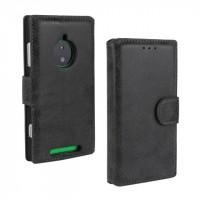 Чехол портмоне подставка винтажный с защелкой для Nokia Lumia 830 Черный