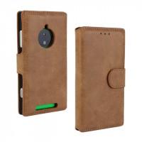Чехол портмоне подставка винтажный с защелкой для Nokia Lumia 830 Коричневый