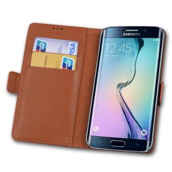 Кожаный чехол портмоне (нат. кожа) для Samsung Galaxy S6 Edge