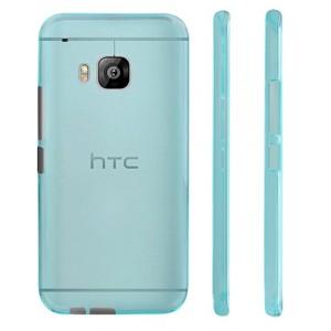 Силиконовый матовый полупрозрачный чехол для HTC One M9 Голубой