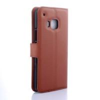 Чехол портмоне подставка с защелкой для HTC One M9 Коричневый