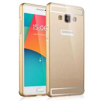 Двухкомпонентный чехол с металлическим бампером и поликарбонатной накладкой Яблоко и лого-отверстием для Samsung Galaxy A5