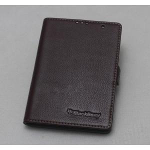 Кожаный чехол горизонтальная книжка (нат. кожа) с крепежной застежкой для Blackberry Passport Коричневый