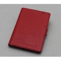 Кожаный чехол горизонтальная книжка (нат. кожа) с крепежной застежкой для Blackberry Passport Красный