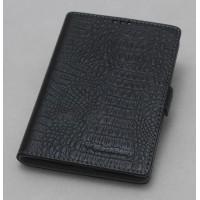 Кожаный чехол горизонтальная книжка (нат. кожа крокодила) с крепежной застежкой для Blackberry Passport Черный