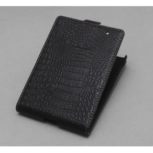 Кожаный чехол вертикальная книжка (нат. кожа крокодила) для Blackberry Passport Черный