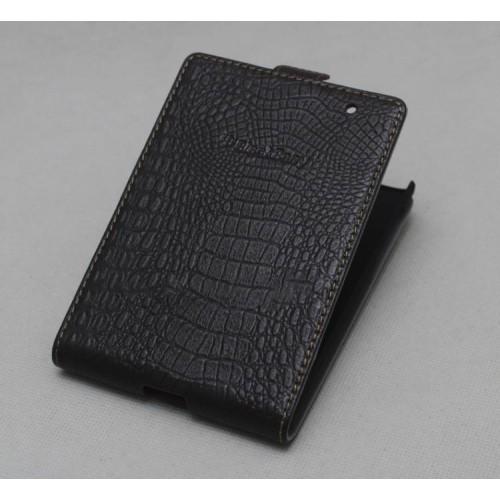 Кожаный чехол вертикальная книжка (нат. кожа крокодила) для Blackberry Passport