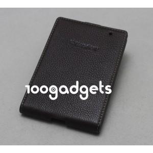 Кожаный чехол вертикальная книжка (нат. кожа) для Blackberry Passport Коричневый