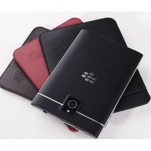 Кожаный мешок с внешним карманом для Blackberry Passport Черный