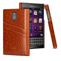 Кожаный чехол накладка с внешними карманами для Blackberry Passport Коричневый