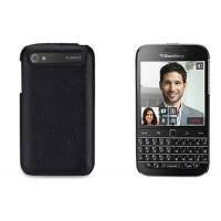 Кожаный чехол накладка (нат. кожа) для Blackberry Classic Черный