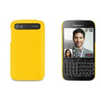 Кожаный чехол накладка (нат. кожа) для Blackberry Classic Желтый