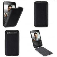 Кожаный чехол вертикальная книжка (нат. кожа) для Blackberry Classic Черный