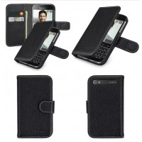 Кожаный чехол портмоне (нат. кожа) с крепежной застежкой для Blackberry Classic Черный