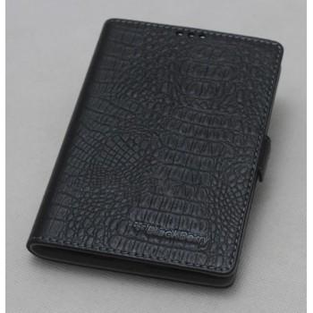 Кожаный чехол горизонтальная книжка (нат. кожа крокодила) для Blackberry Classic