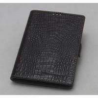 Кожаный чехол горизонтальная книжка (нат. кожа крокодила) для Blackberry Classic Коричневый