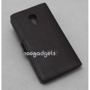 Кожаный чехол горизонтальная книжка (нат. кожа) с крепежной застежкой для Meizu MX4 Pro Коричневый