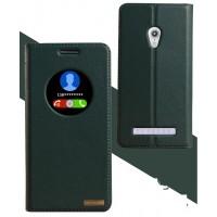 Кожаный чехол флип-подставка на плаcтиковой основе для ASUS Zenfone 5 Зеленый