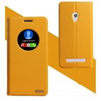 Кожаный чехол флип-подставка на плаcтиковой основе для ASUS Zenfone 5 Желтый