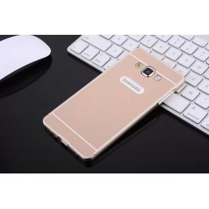 Двухкомпонентный чехол с металлическим бампером и поликарбонатной накладкой для Samsung Galaxy E7 Бежевый