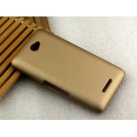 Пластиковый матовый металлик чехол для Sony Xperia E4 Бежевый