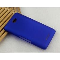 Пластиковый матовый металлик чехол для Sony Xperia E4 Синий