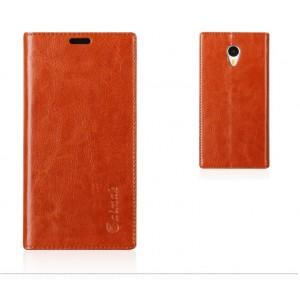 Кожаный чехол подставка для Meizu M1 Note Коричневый