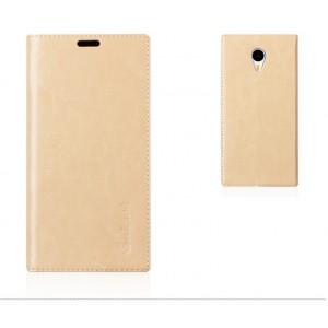 Кожаный чехол подставка для Meizu M1 Note Бежевый