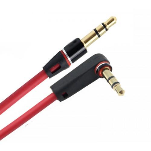 Соединительный кабель AUX 3.5mm 1 м с угловым разъемом Красный