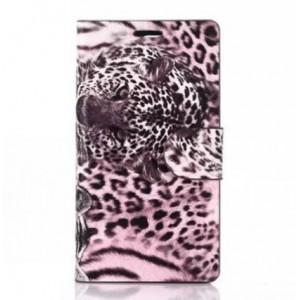 Чехол портмоне подставка на пластиковой основе с защелкой и принтом Леопард для Sony Xperia Z3 Compact Розовый
