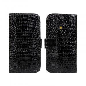 Чехол портмоне подставка с защелкой текстура Крокодил для Samsung Galaxy S4 Mini Черный