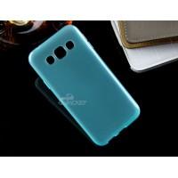 Силиконовый матовый непрозрачный чехол для Samsung Galaxy E5 Голубой