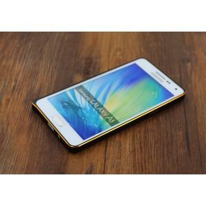 Металлический бампер для Samsung Galaxy A7 Бежевый