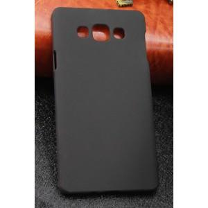 Пластиковый матовый непрозрачный чехол для Samsung Galaxy A7 Черный