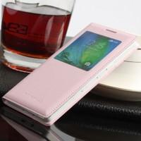 Чехол флип с окном вызова на пластиковой основе для Samsung Galaxy A3 Розовый