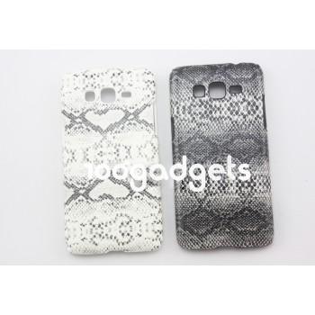 Пластиковый чехол накладка с кожаным покрытием текстура Змея для Samsung Galaxy Grand Prime