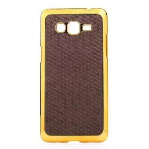 Пластиковый матовый чехол с металлическим напылением и текстурной крышкой для Samsung Galaxy Grand Prime