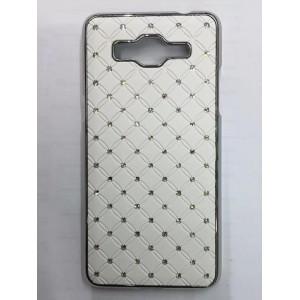 Дизайнерский пластиковый чехол со стразами для Samsung Galaxy Grand Prime Белый