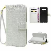 Чехол портмоне подставка с защелкой дизайн Крокодил для Samsung Galaxy Grand Prime Белый