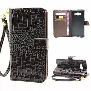 Чехол портмоне подставка с защелкой дизайн Крокодил для Samsung Galaxy Grand Prime Коричневый