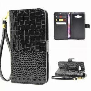 Чехол портмоне подставка с защелкой дизайн Крокодил для Samsung Galaxy Grand Prime Черный