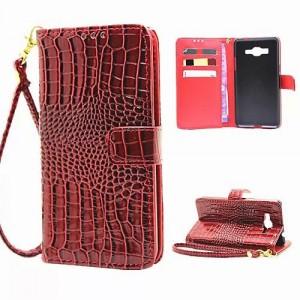 Чехол портмоне подставка с защелкой дизайн Крокодил для Samsung Galaxy Grand Prime Красный