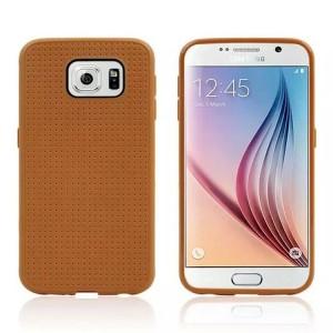 Силиконовый матовый чехол с фирменной точечной структурой для Samsung Galaxy S6 Коричневый
