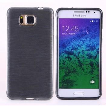 Силиконовый полупрозрачный чехол текстура Металл для Samsung Galaxy Alpha