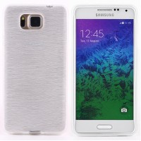 Силиконовый полупрозрачный чехол текстура Металл для Samsung Galaxy Alpha Белый